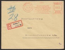 """""""Breslau"""", Genossenschaftsbank, 1939, Postauftrag, R-Brief, Seltener 62- Pfg.- Tarif - Deutschland"""