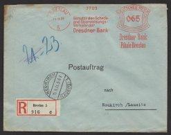 """""""Breslau"""", Dresdner Bank, 1931, Postauftrag, R- Brief, Seltener 65-Pfg.- Tarif - Deutschland"""