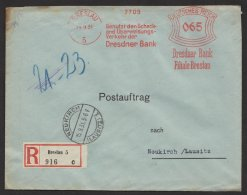 """Breslau"", Dresdner Bank, 1931, Postauftrag, R- Brief, Seltener 65-Pfg.- Tarif - Briefe U. Dokumente"