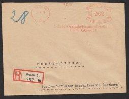 """""""Breslau"""", Genossenschaftsbank, 1937, Postauftrag, R- Brief, Seltener 62-Pfg.- Tarif - Briefe U. Dokumente"""