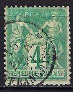 """FR YT 63 """" Sage 4c. Vert """" CAD Province Affranchissement - 1876-1878 Sage (Type I)"""