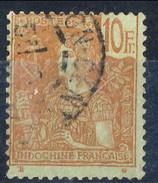 Indocina 1904-06 N. 40 F. 10 Rosso Su Su Verde-azzurro Usati Cat. € 200 - Used Stamps