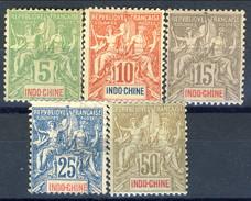 Indocina 1900 Serie N. 17-21 MLH Cat. € 75 - Unused Stamps