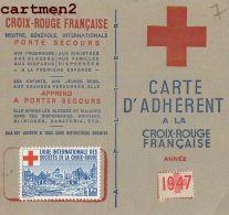 CROIX-ROUGE CARTE D'ADHERENT VERSEMENT + VIGNETTE 1947 GUERRE VIENNE ISERE CACHET - Militaria