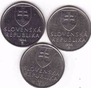 Slovakia 3 X 5 Koruna - Krone - Crown - Couronne 1993, 1994, 1995 - Slowakei
