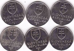 Slovakia 6 X 2 Koruna - Krone - Crown - Couronne 1994, 1995, 2001, 2002, 2003, 2007, - Slowakei