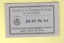 Modena San Vincenzo BUONI CARITATEVOLI Pane , Pasta , Farina Lire UNA Wohltätiges Gut Bienfaisance Charitable Good - Italie