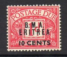 BOIC, BMA Eritrea 1948 10c. On 1d Postage Due Overprint On GB, Hinged Mint, SG ED2 (A) - Eritrée