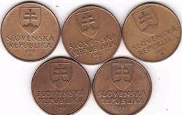 Slovakia 5 X 1 Koruna - Krone - Crown - Couronne 1993, 1994, 1995, 2005, 2006 - Slowakei