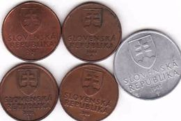 Slovakia 5 X 50 Haler -  Halier 1993, 2000, 2001, 2004, 2007 - Slowakei