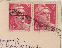ROULETTE BELGE Sur Paire 3F GANDON. CP VALENCE Drome Pour MOUSERON. 1946. - Postmark Collection (Covers)