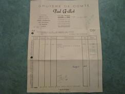 Gruyère De Comté . Paul GRILLOT 71-73, Rue Jean Jaurès à POLIGNY (facture) - Alimentare