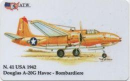 Scheda Telefonica ATW Serie Aerei N. 41: USA 1942 Douglas A-20G Havoc Bombardiere Anno 1999 - Flugzeug, Avion, Airplane - Aerei