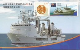 China 2009 - Postcard - 60th Anniversary Of The Chinese PLA Navy Ship - Australia Flag Label - 1949 - ... People's Republic