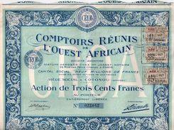 Comptoirs Réunis De L'Ouest Africain - Action De Trois Cent Francs Au Porteur - Afrique