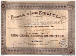 Filatures De Laine Schwartz & Cie  (Mulhouse) - Action Ordinaire De 500 Francs Au Porteur - Textile