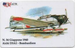 Scheda Telefonica ATW Serie Aerei N. 34: Giappone 1940 Aichi D3A1 Bombardiere 1999 - Flugzeug, Avion, Airplane - Aerei
