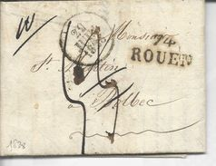 74 Rouen 27x5/13 1828 >> Bolbec - Postmark Collection (Covers)