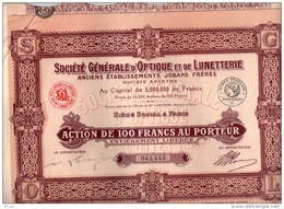Société Générale D'Optique Et Lunetterie ( Anciens Ets Jobard Frères ) - Action De Cent Francs Au Porteur - Shareholdings