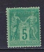 """FR YT 75 """" Sage 5c. Vert """" Neuf* - 1876-1898 Sage (Type II)"""