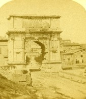 Italie Rome Arc De Titus Ancienne Stereo Photo 1865 - Photos Stéréoscopiques