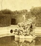 Italie Florence Palazzo Pitti Fontaine Neptune Jardin De Boboli Ancienne Stereo Photo 1865 - Photos Stéréoscopiques