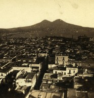 Italie Naples Panorama Mont Vesuve Volcan Ancienne Stereo Photo 1865 - Stereoscopic