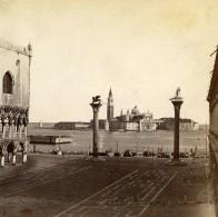 Italie Venise Piazzetta San Marco Ancienne Stereo Photo 1865 - Stereoscopic