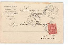 B1220  NAVIGAZIONE A VAPORE RAVENNA TRIESTE SANSONE FORLI X VERONA - 1878-00 Umberto I
