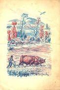 MENU LIGUE AUVERGNATE 1928 DESSIN DE VICTOR FONFREIDE - EXCEPTIONNEL - Menus