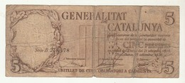 Generalitat De Catalunya 5 Pessetes 1936 - Espagne