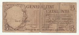 Generalitat De Catalunya 5 Pessetes 1936 - Spain