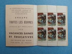 """1949 - CARNET """" JEUNESSE EN PLEIN AIR """" AVEC 6 TIMBRES NEUFS CONFEDERATION NATIONALE DES OEUVRES LAIQUES - Commemorative Labels"""
