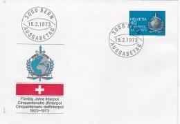 Switzerland FDC 1973 50 Years INTERPOL (DD6-12) - Police - Gendarmerie
