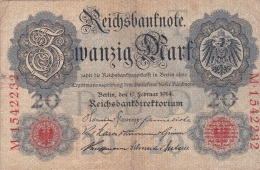 Germany Reichsbanknote 1914 - 20 Mark (DD6-12) - [ 2] 1871-1918 : German Empire