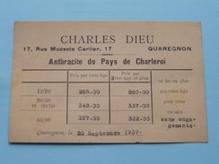 Charles DIEU ( Anthracite Quaregnon ) Anno 1937 ( Zie/voir Foto Voor Details ) CP / Briefkaart / Reclame-Pub !! - Quaregnon