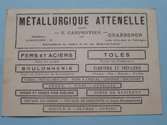 Métallurgique Attenelle ( E. Carpentier ) Anno 19?? ( Zie/voir Foto Voor Details ) CP / Briefkaart / Reclame-Pub !! - Quaregnon