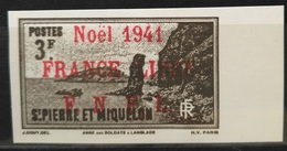 05 St.Pierre & Miquelon France Libre 1941 NOEL FNFL Scare Stamp 3f Dark Brown - Modern Reproduction - St.Pierre & Miquelon