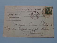 Assurances Georges DUEZ Quaregnon - Anno 1913 > Frameries ( Zie/voir Foto Voor Details ) Briefkaart / CP ! - Quaregnon