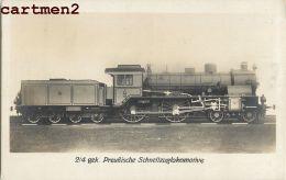 CARTE PHOTO : PREUSSISCHE PRUSSE TRAIN LOCOMOTIVE CHEMIN DE FER ZUG BAHNHOF LOKOMOTIVE STATION ESTACION TREN LOCOMOTORA - Trains