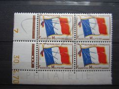 """VEND BEAUX TIMBRES DE FRANCHISE MILITAIRE EN BLOC DE 4 COIN DATE N° 13 , """" 70 """" , XX !!! - Coins Datés"""