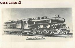 CARTE PHOTO TURBINENLOKOMOTIVE DEUTSCHLAND RAILWAY TRAIN GARE LOCOMOTIVE CHEMIN DE FER ZUG BAHNHOF LOKOMOTIVE STATION - Trains