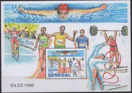 SENEGAL RARE 2016 OLYMPIC GAMES JEUX OLYMPIQUES RIO DE JANEIRO BRAZIL BRASIL SWIMMING CYCLING GYMNASTICS - 1000 Ex, MNH - Sommer 2016: Rio De Janeiro