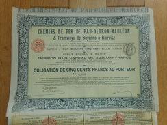 Chemin De Fer De PAU OLORON MAULEON Et Tramways De Bayonne à Biarritz            1908 - Chemin De Fer & Tramway