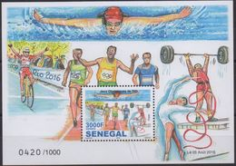SENEGAL RARE 2016 OLYMPIC GAMES JEUX OLYMPIQUES RIO DE JANEIRO BRASIL BRAZIL - SWIMMING NATATION - 1000 Ex, MNH - Swimming