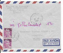 REUNION - 1954 - GANDON Sur ENVELOPPE Par AVION De SAINT-PIERRE Avec CACHET CONVOYEUR 1 => MARSEILLE - Reunion Island (1852-1975)