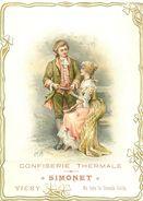 03 - VICHY - CARTE COMMERCIALE GAUFFREE ANCIENNE - CONFISERIE SIMONET - FACE à LA GRILLE (8 X11 Cm) -TB. - Vichy