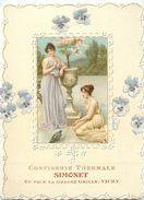 03 - VICHY - CARTE COMMERCIALE GAUFFREE ANCIENNE - CONFISERIE SIMONET - FACE à LA GRILLE (9 X12,5 Cm) -TB. - Vichy