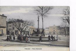 83 / VIDAUBAN / PLACE NATIONALE  / TRES BELLE CARTE COLORISEE / EDIT BLANC - Vidauban