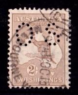 Australia 1915 Kangaroo 2/- Brown 2nd Watermark Perf OS Used - - 1913-48 Kangaroos